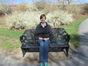 Sophie on a bench