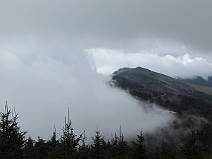Mt. Mitchell in clouds